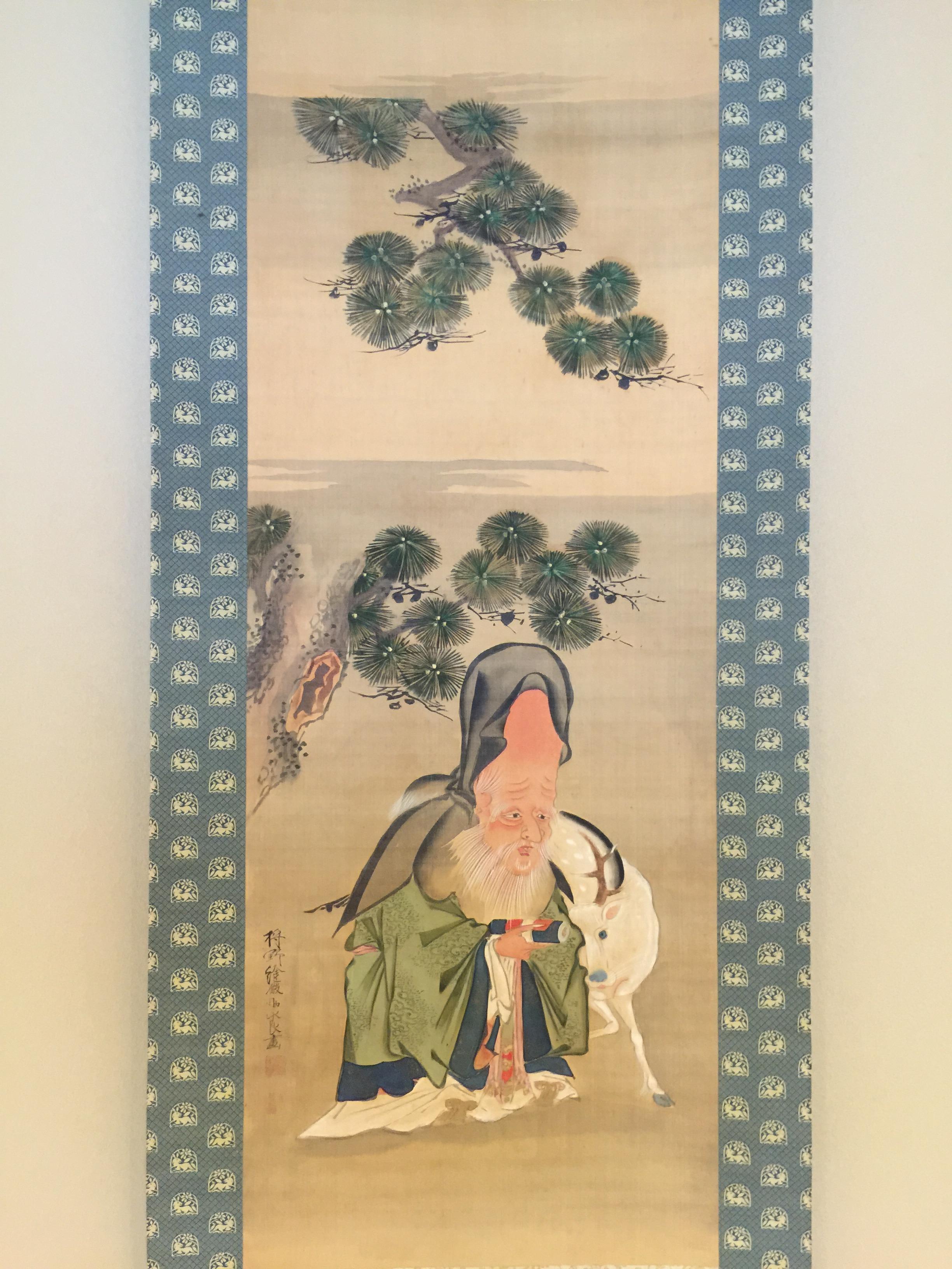 狩野永良 寿老図|古美術・掛け...