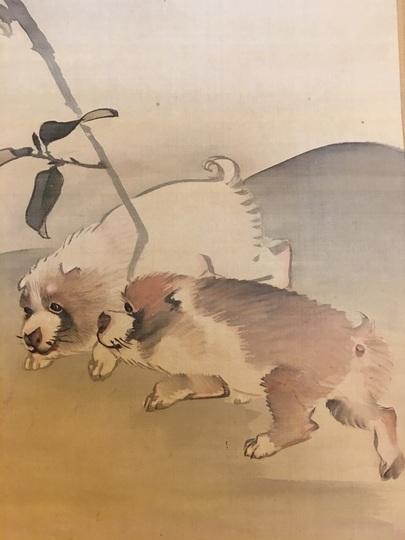 渡辺南岳 山茶花狗子図|古美術...