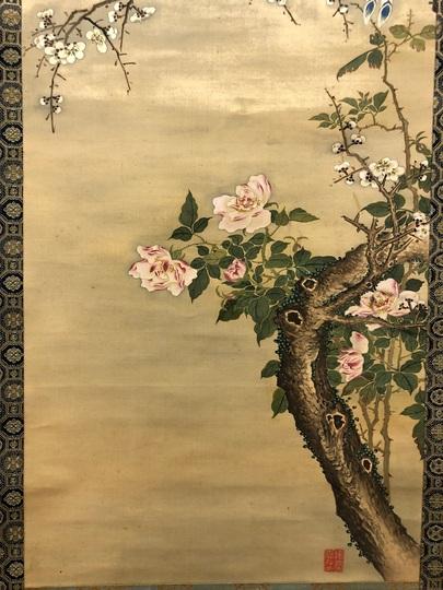諸葛監 梅薔薇に小禽図 古美術...